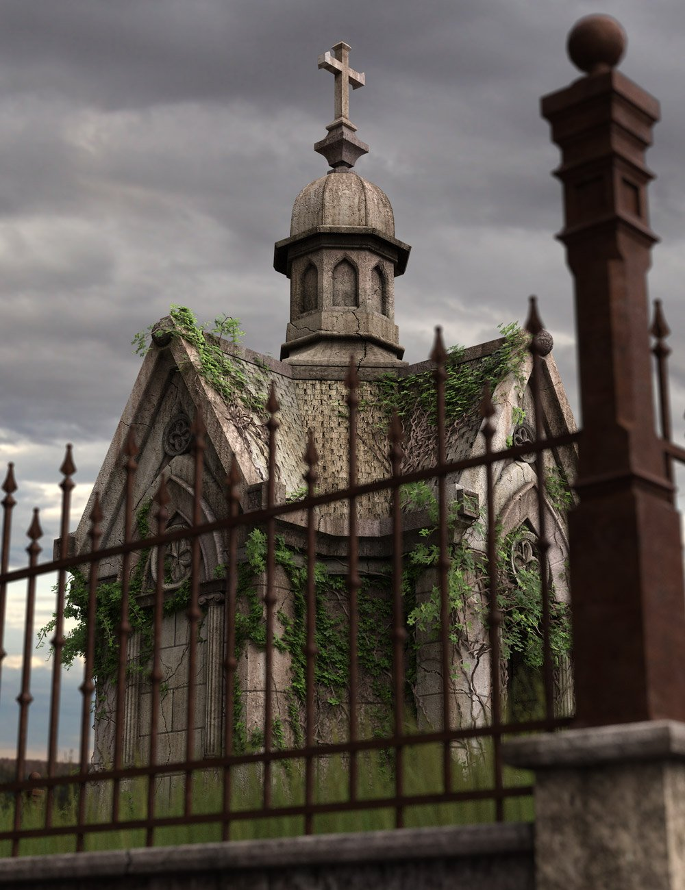 Victorian Mausoleum Expansion by: Age of Armour, 3D Models by Daz 3D