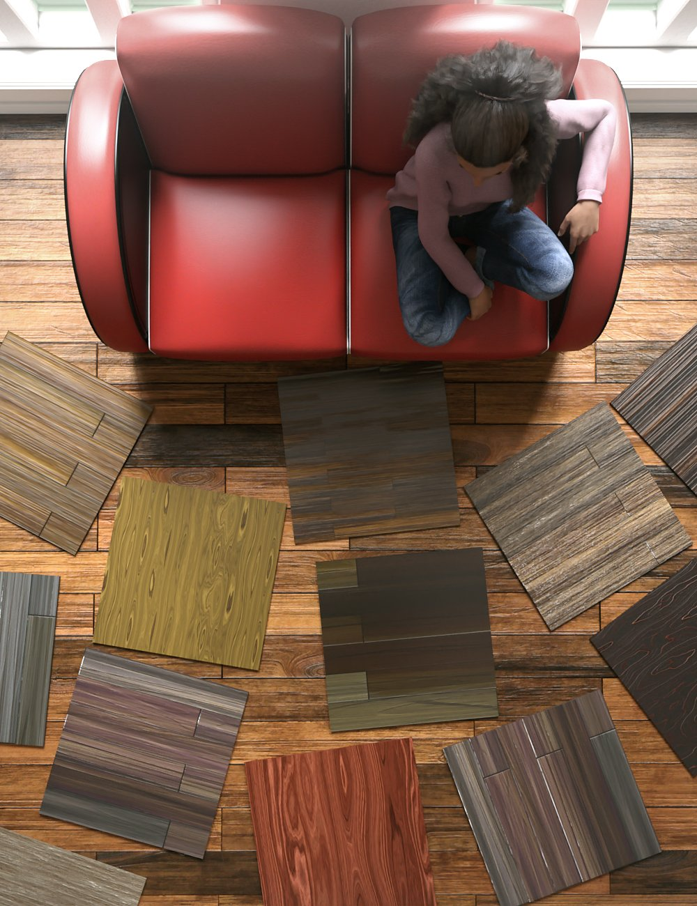 Laminated Wood Floors Iray Shaders by: JGreenlees, 3D Models by Daz 3D