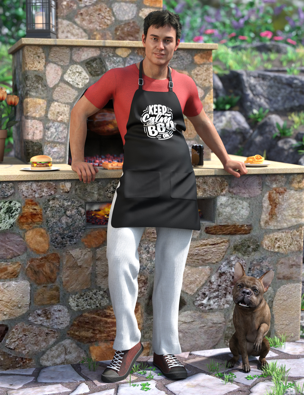 dForce Backyard BBQ Outfit for Genesis 8 Male(s) by: Moonscape GraphicsNikisatezSade, 3D Models by Daz 3D