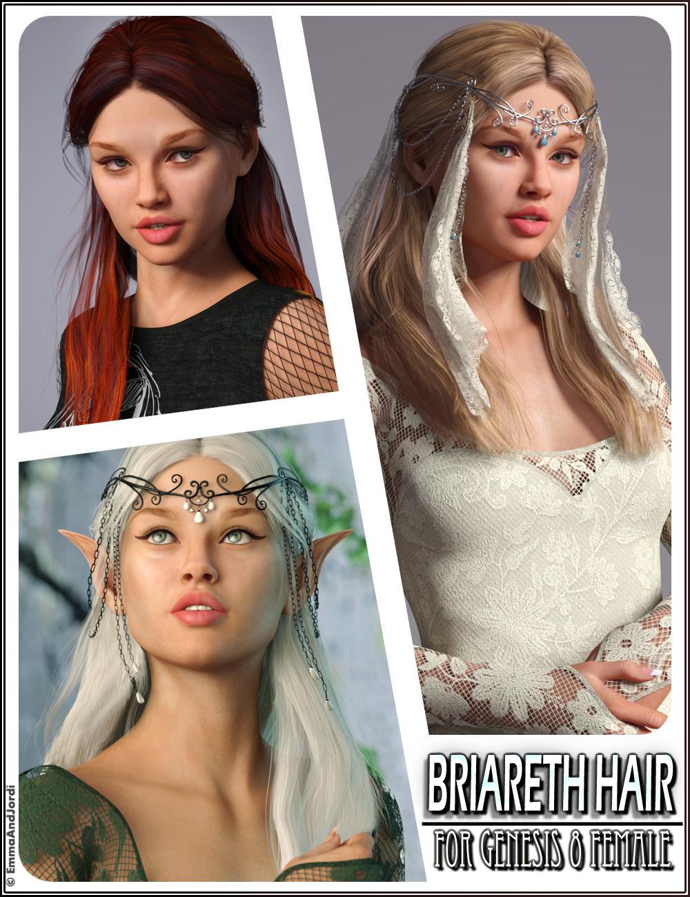 Briareth Hair for Genesis 8 Female(s) by: EmmaAndJordi, 3D Models by Daz 3D