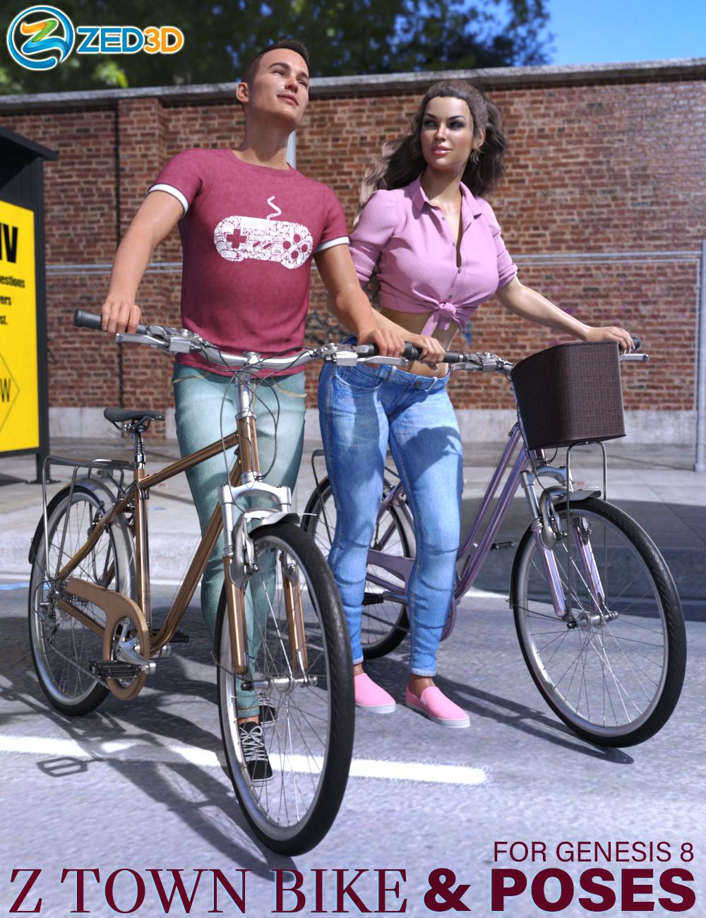 Z Town Bike and Poses by: Zeddicuss, 3D Models by Daz 3D