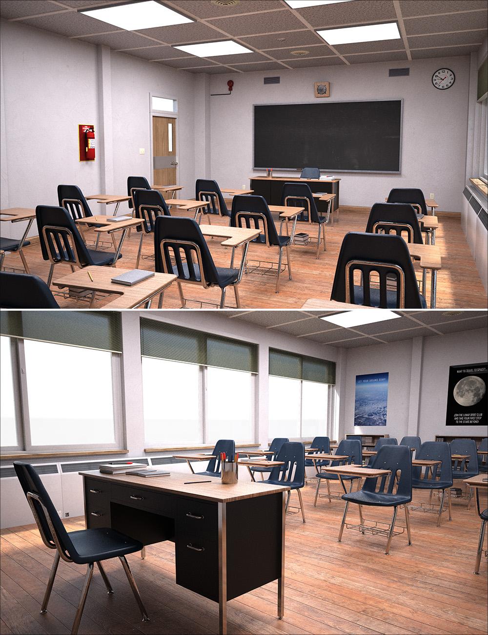 High School Classroom Interior by: , 3D Models by Daz 3D