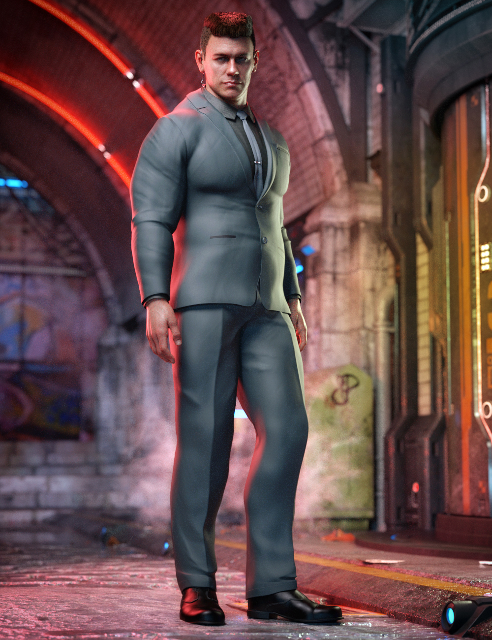 Bouncer Outfit for Dain 8 and Genesis 8 Male(s) by: , 3D Models by Daz 3D