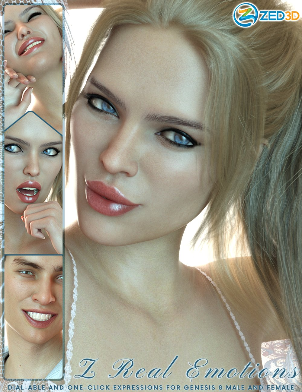 Z 50 Real Emotions Expressions for Genesis 8 by: Zeddicuss, 3D Models by Daz 3D