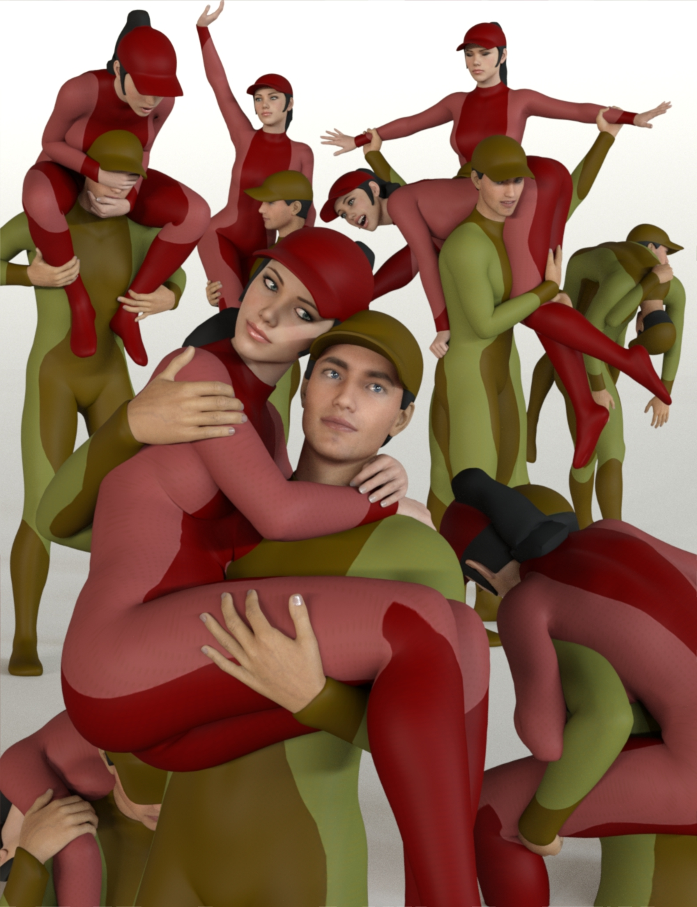People Carrying People: 25 Pose Pairs (Genesis 8) by: atrilliongames, 3D Models by Daz 3D