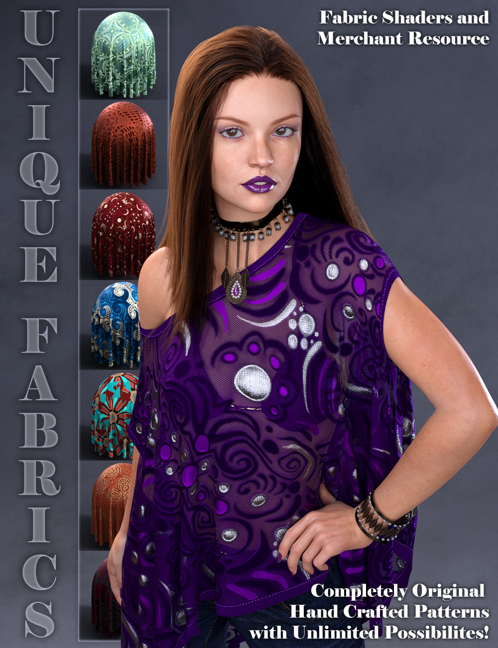 Unique Fabrics Shaders and Merchant Resource by: ARTCollaborations, 3D Models by Daz 3D