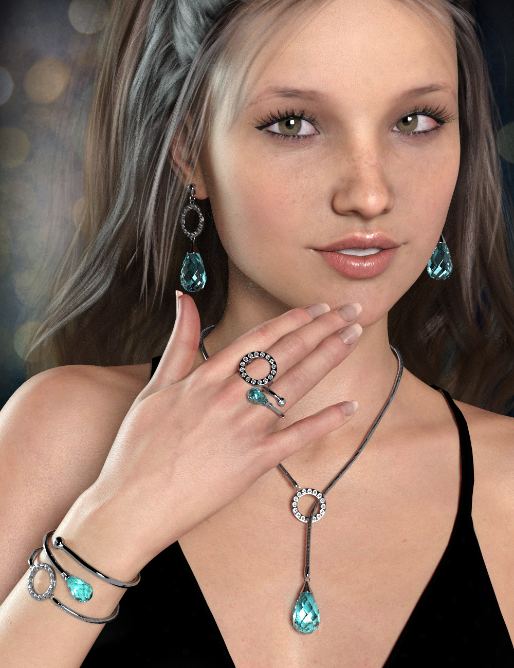 Droplet Jewelry for Genesis 8 Female(s) by: esha, 3D Models by Daz 3D