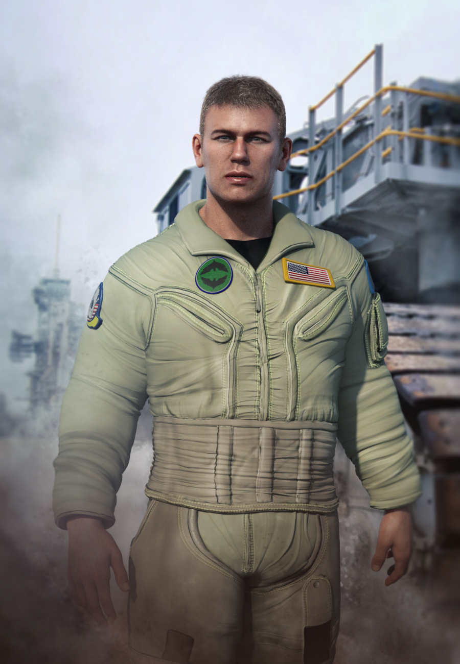Flight Suit Outfit for Dain 8 and Genesis 8 Male(s) by: , 3D Models by Daz 3D