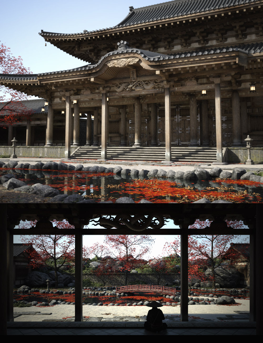 Old Japanese Temple by: i74, 3D Models by Daz 3D