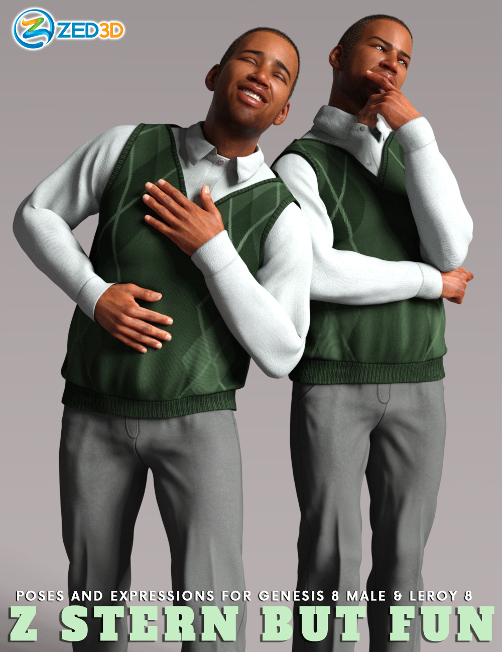 Z Stern But Fun Poses and Expressions for Leroy 8 by: Zeddicuss, 3D Models by Daz 3D