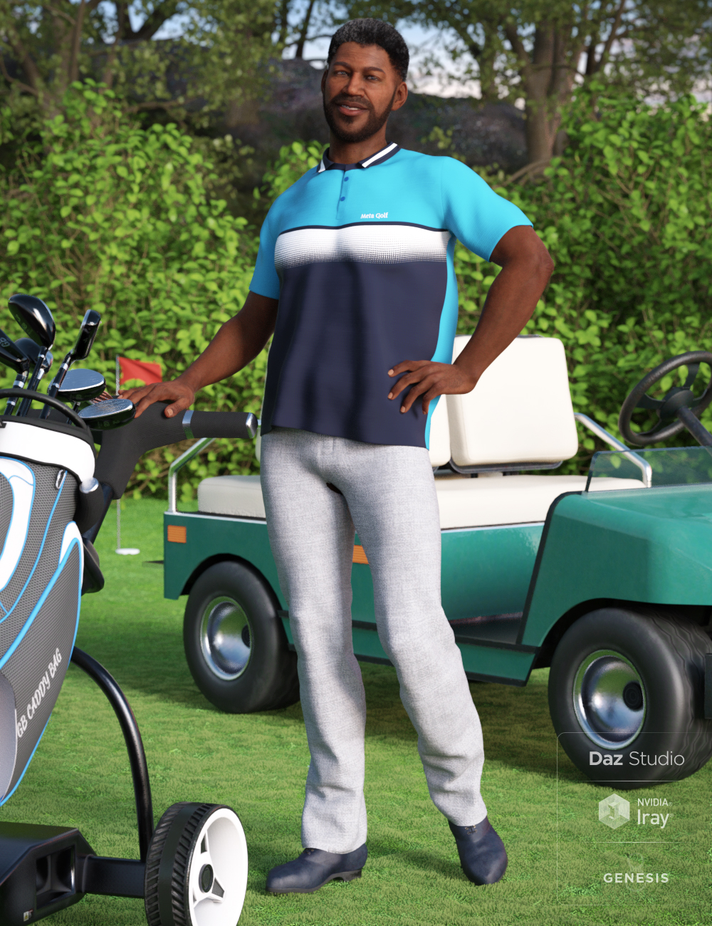 Casual Golf Outfit for Genesis 8 Male(s) by: Lyrra MadrilMoonscape GraphicsSade, 3D Models by Daz 3D