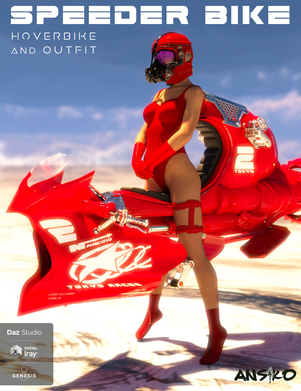 Speeder Bike and Outfit for Genesis 8 Female(s) by: Ansiko, 3D Models by Daz 3D