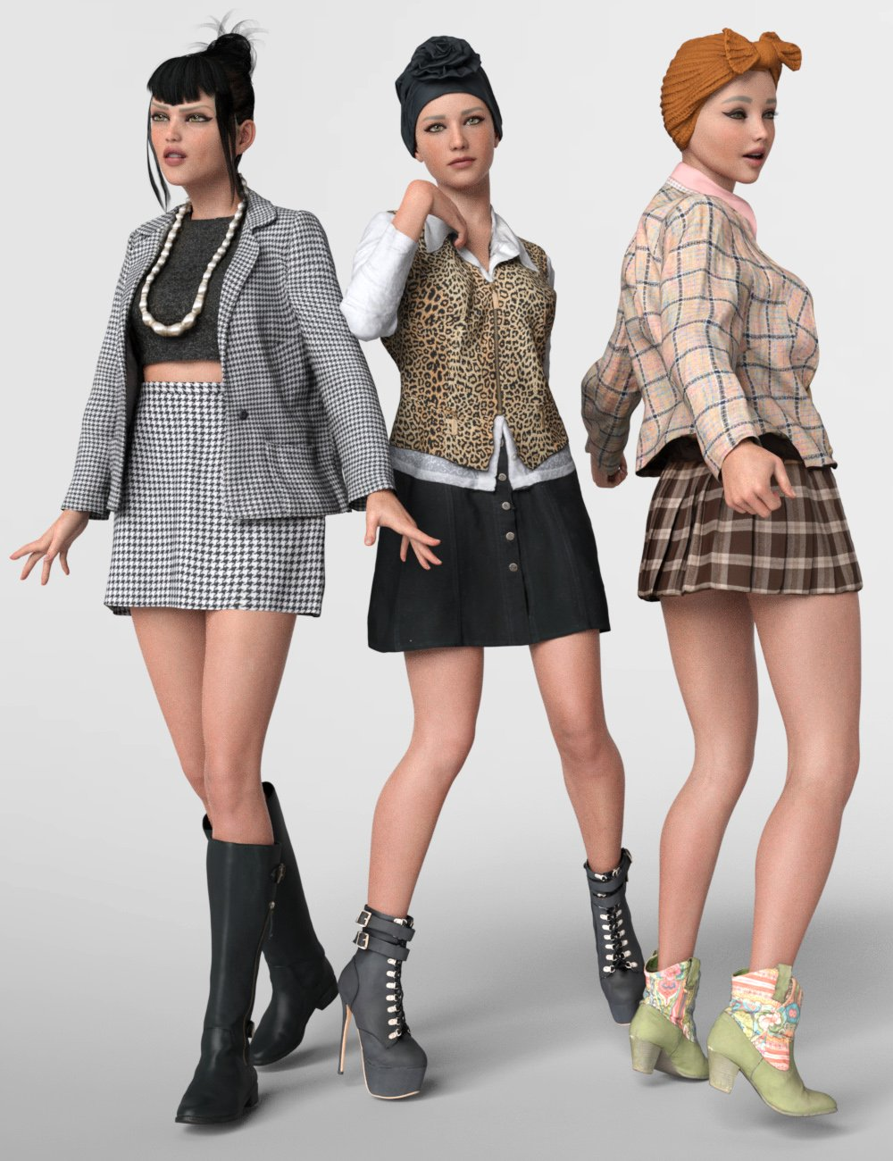 3 dForce Vintage Outfits for Genesis 8 Female by: Polygonal Miniatures, 3D Models by Daz 3D