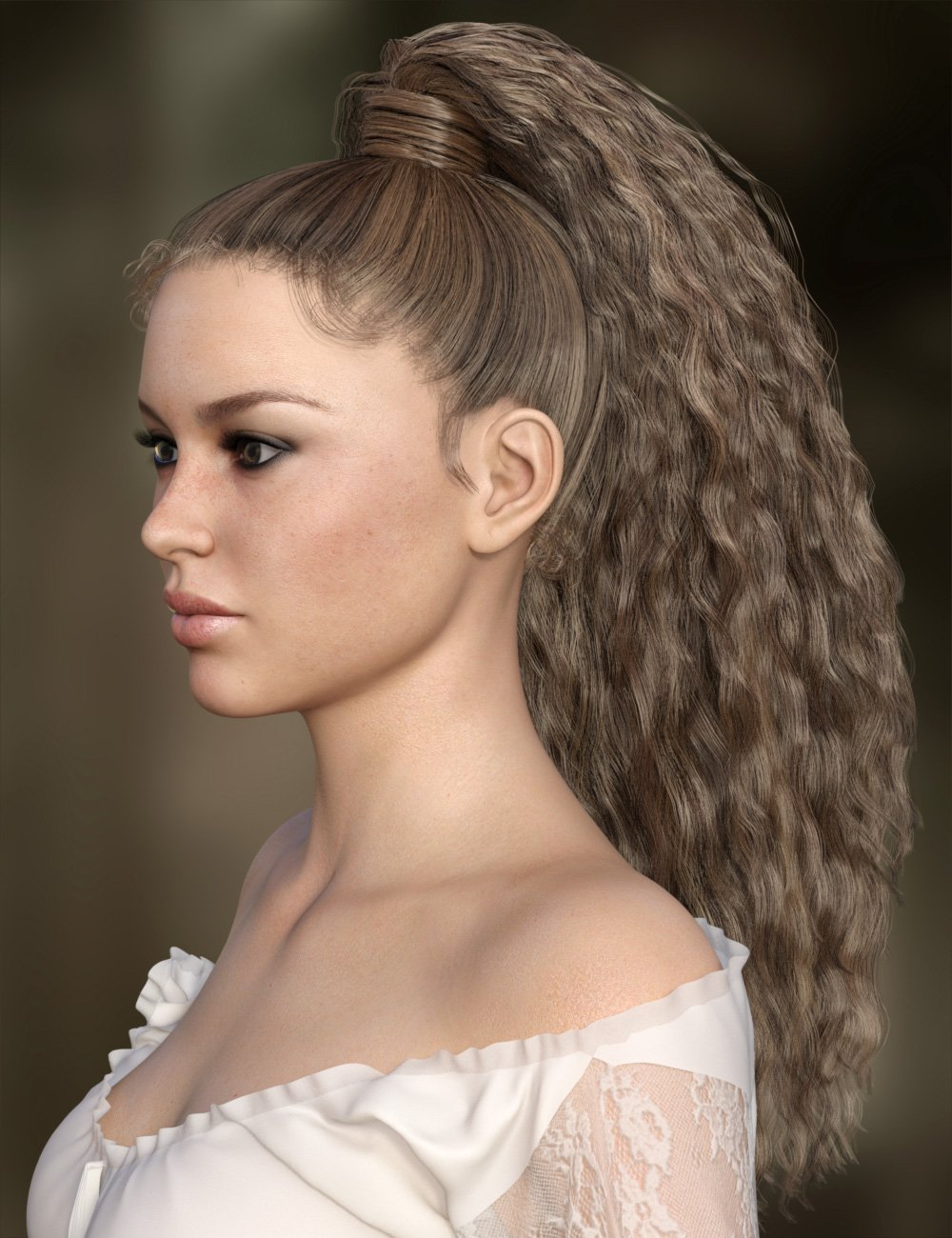 MRL Curly Ponytail for Genesis 8 Female with Color Mixing by: Mihrelle, 3D Models by Daz 3D