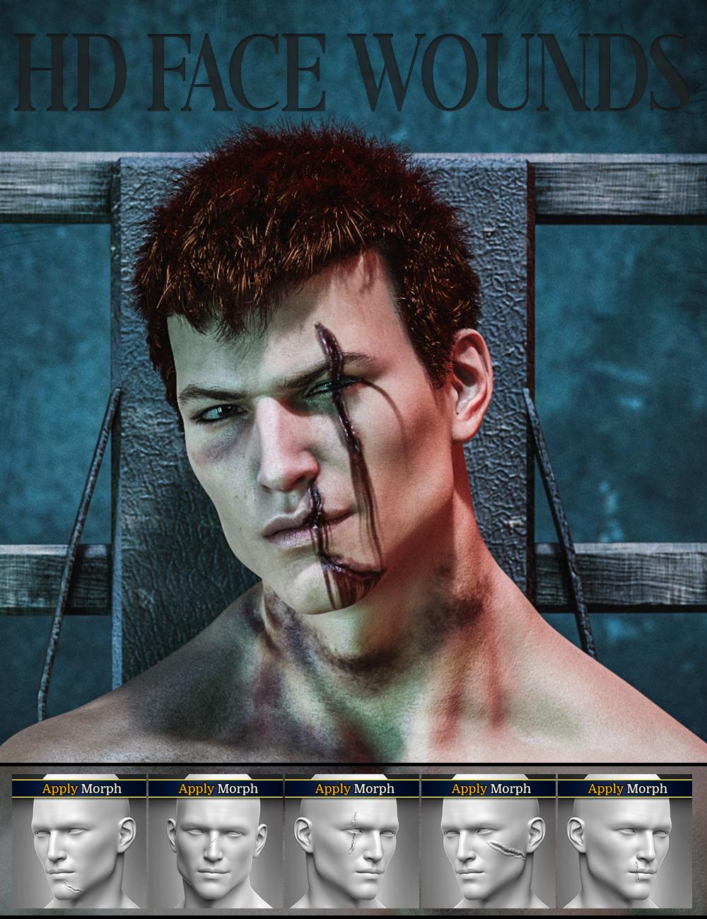HD Face Wounds for Genesis 3 & 8 Male(s) by: FenixPhoenixEsid, 3D Models by Daz 3D