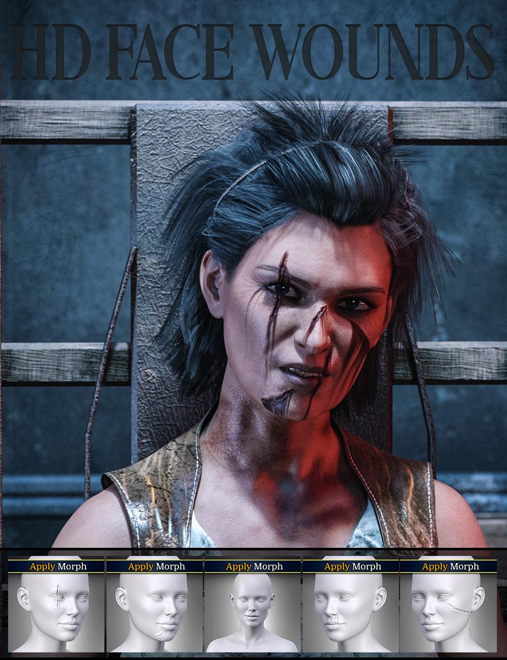 HD Face Wounds for Genesis 3 & 8 Female(s) by: FenixPhoenixEsid, 3D Models by Daz 3D