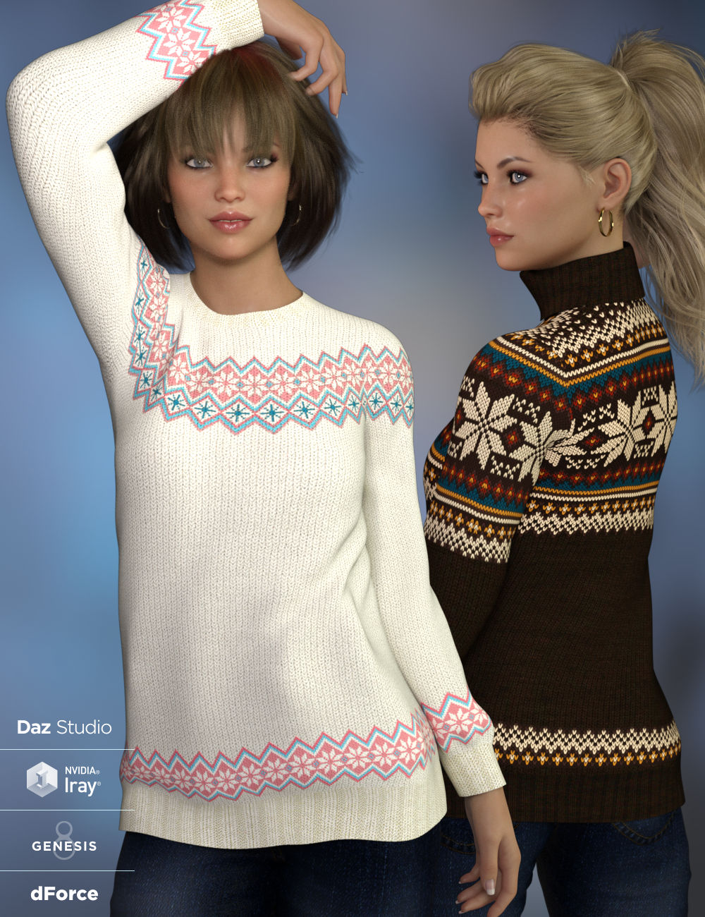 dForce Fair Isle Sweaters for Genesis 8 Female by: WildDesigns, 3D Models by Daz 3D