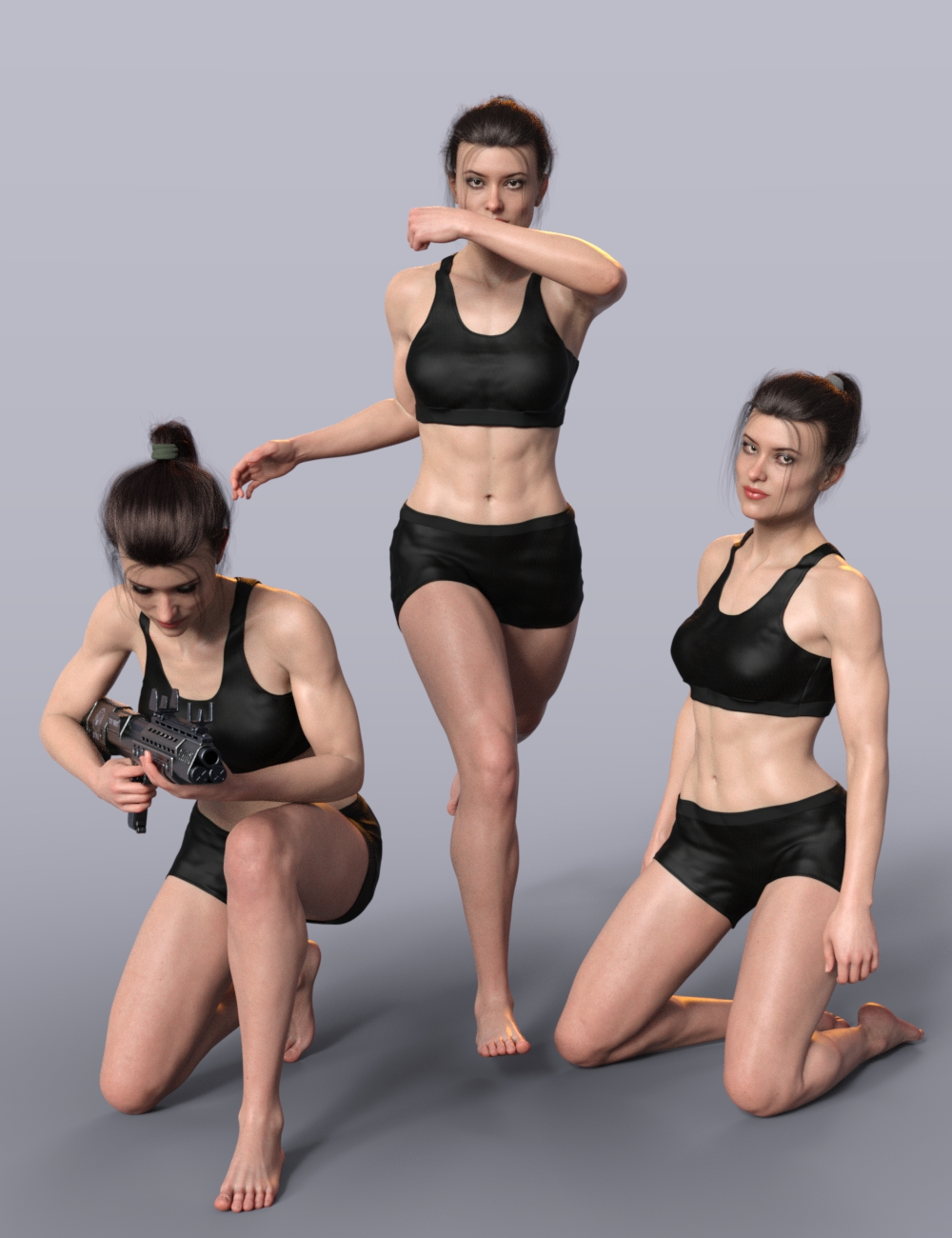 Tough Gal Poses for CJ 8 by: AliveSheCried, 3D Models by Daz 3D