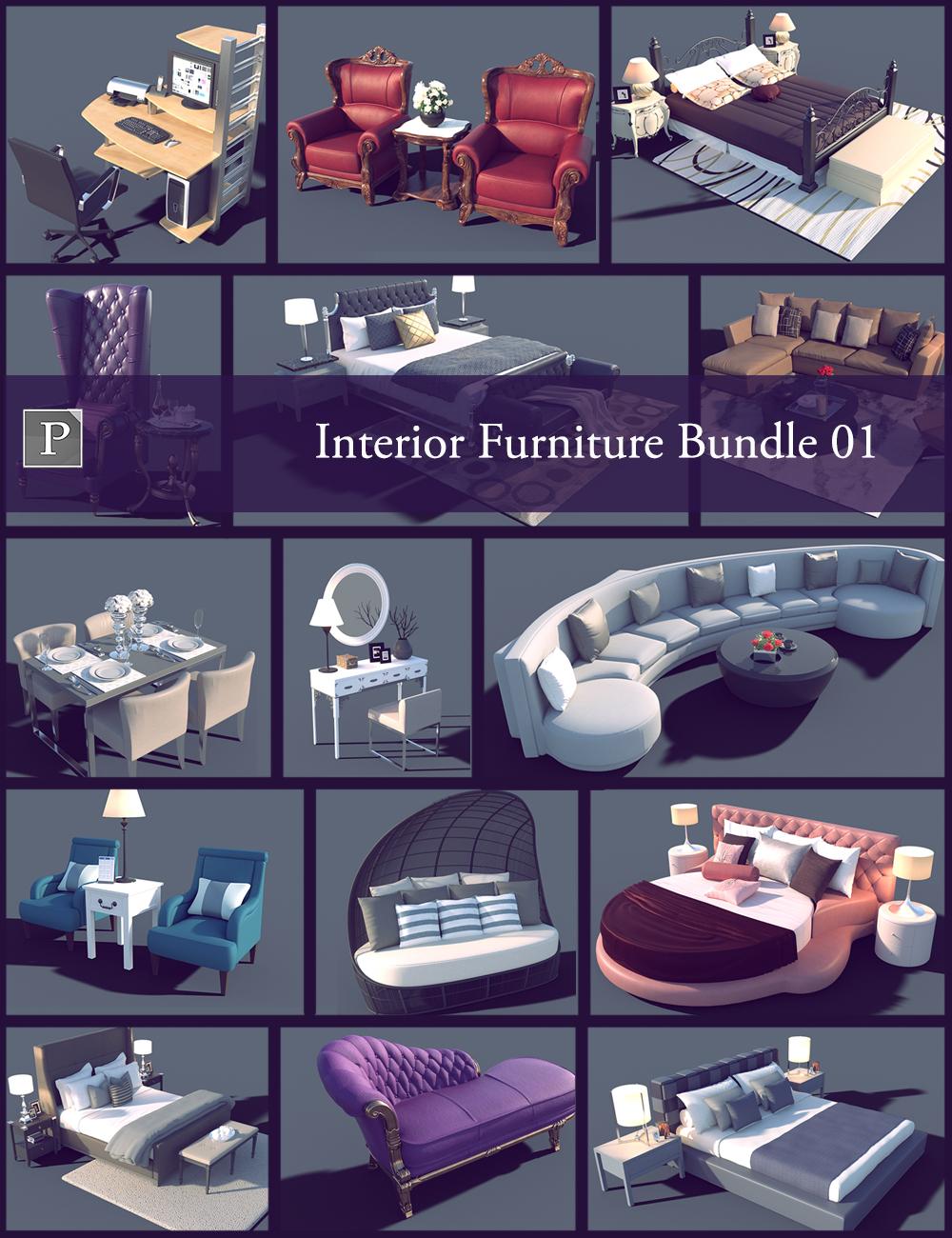 Interior Furniture Bundle 01 by: Polish, 3D Models by Daz 3D