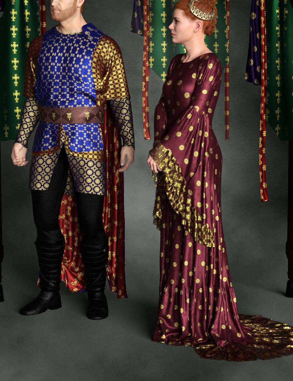 Regal Riches: Historical Pattern Iray Shader Presets by: Inkara, 3D Models by Daz 3D
