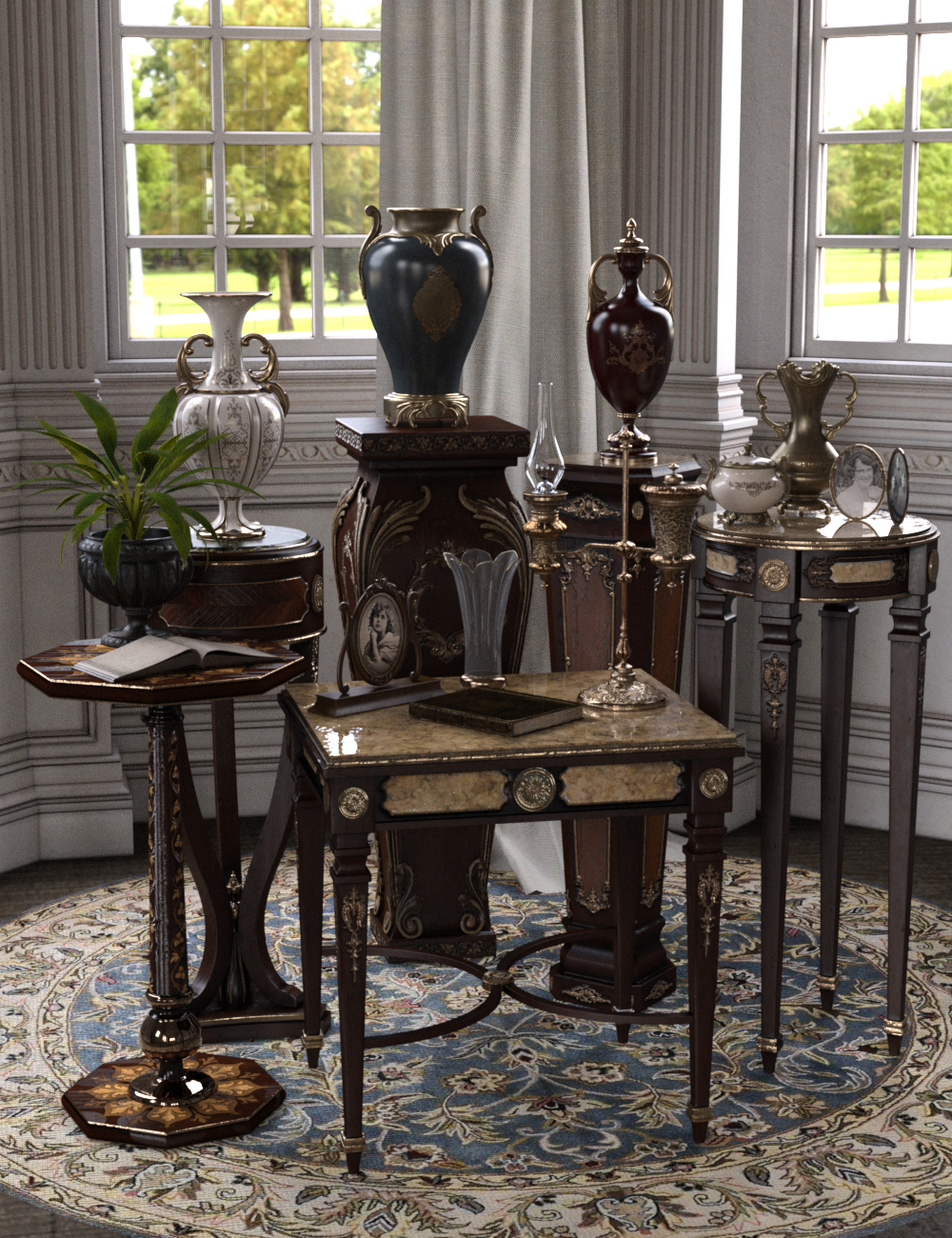 Vintage Stands and Tables by: LaurieS, 3D Models by Daz 3D