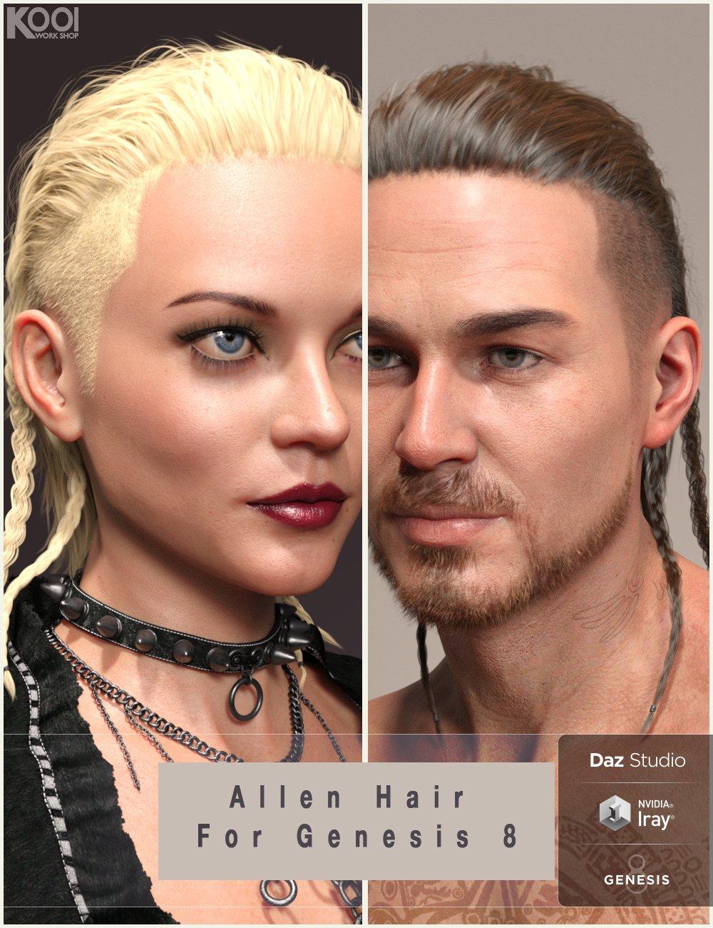 Allen Hair For Genesis 8 by: Kool, 3D Models by Daz 3D