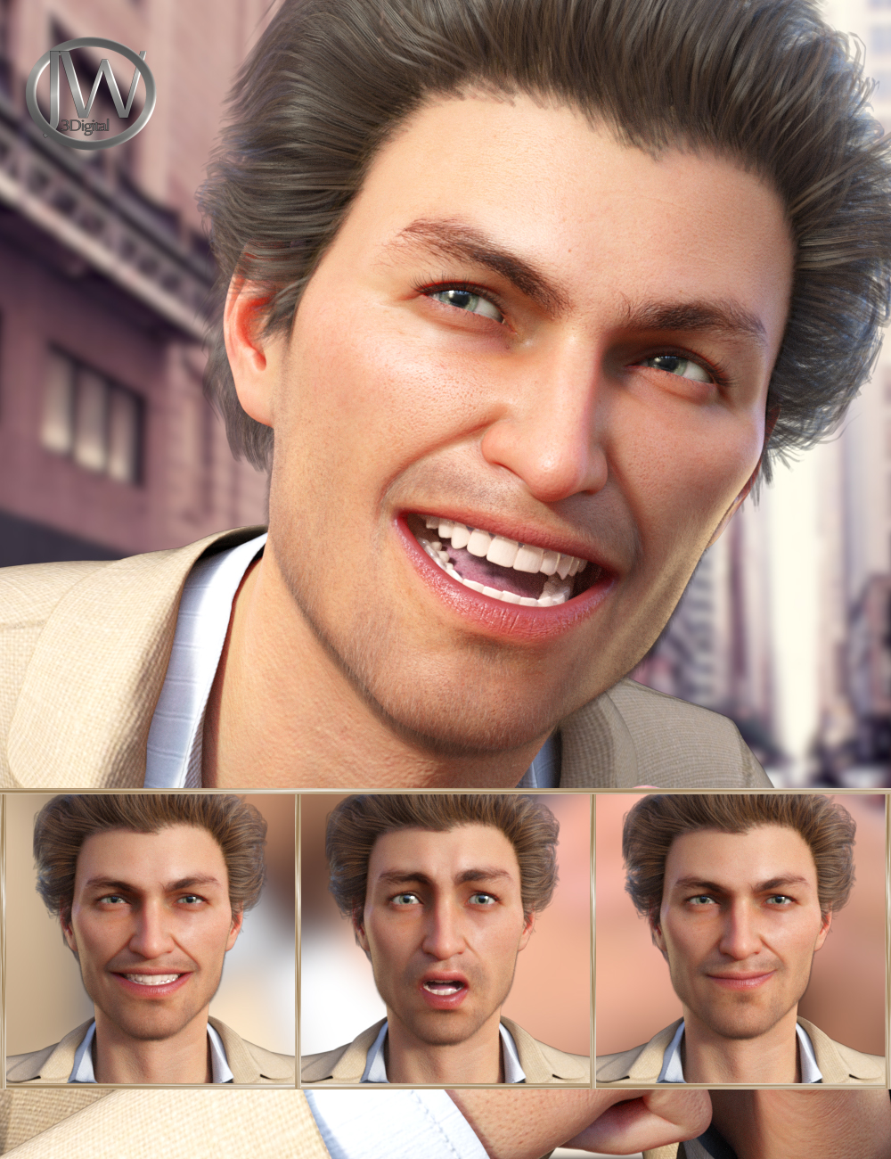 Stylish - Expressions for Genesis 8 Male and Jonathan 8 by: JWolf, 3D Models by Daz 3D