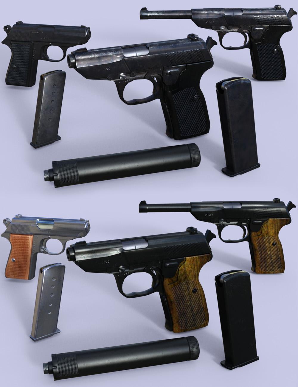 Spy Pistols by: DzFire, 3D Models by Daz 3D