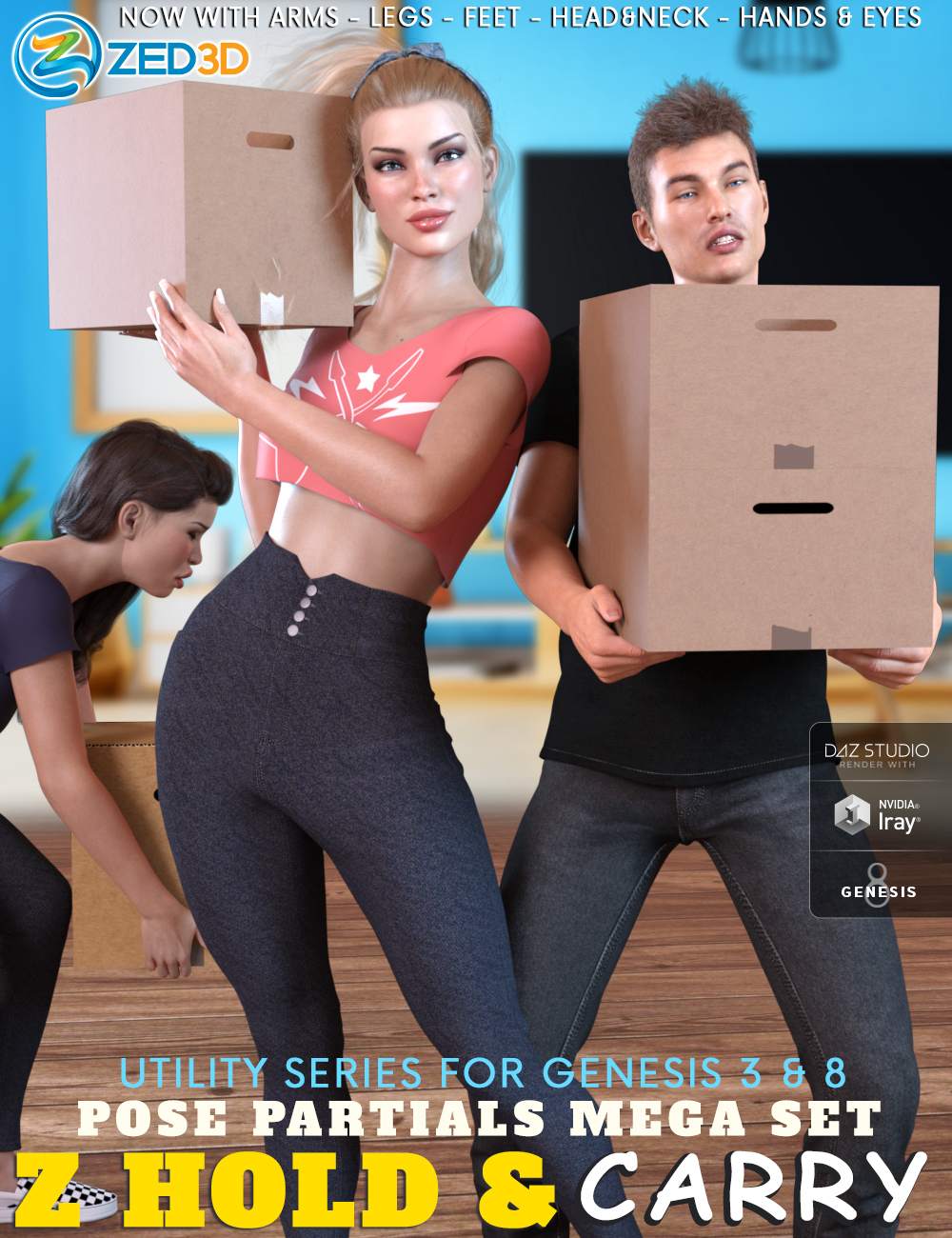 Z Utility Hold and Carry Pose Mega Set by: Zeddicuss, 3D Models by Daz 3D