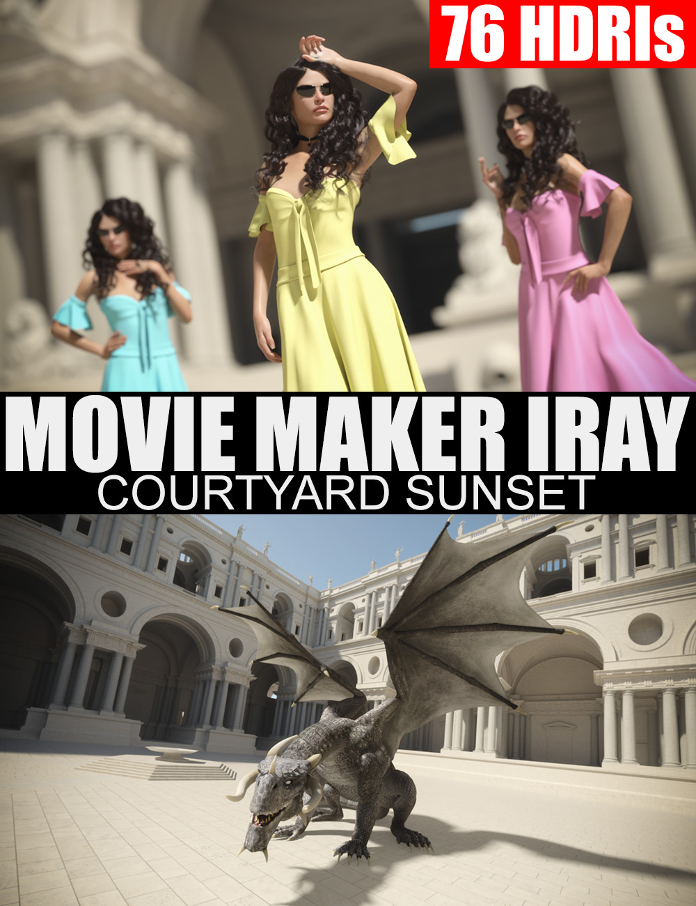 76 HDRIs - Movie Maker Iray - Courtyard Sunset by: Dreamlight, 3D Models by Daz 3D