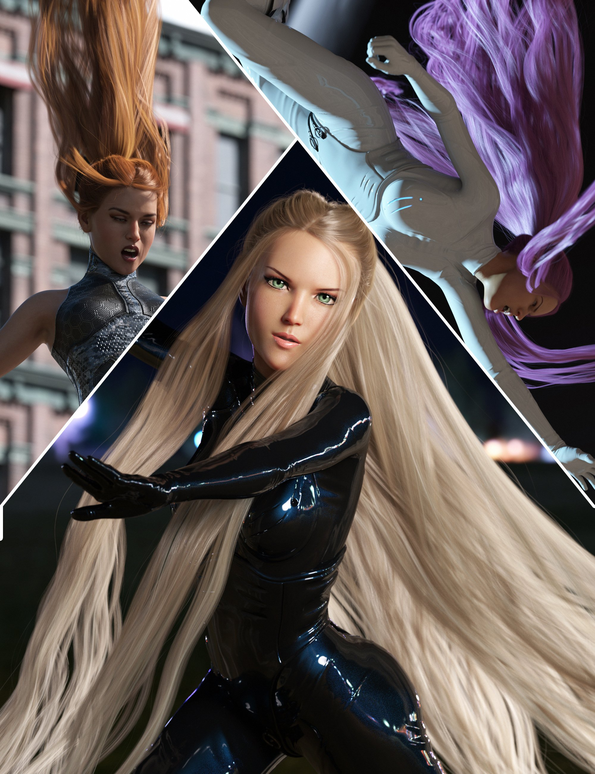 Turbulent Tail Hair for Genesis 3 and 8 Female(s) by: outoftouch, 3D Models by Daz 3D