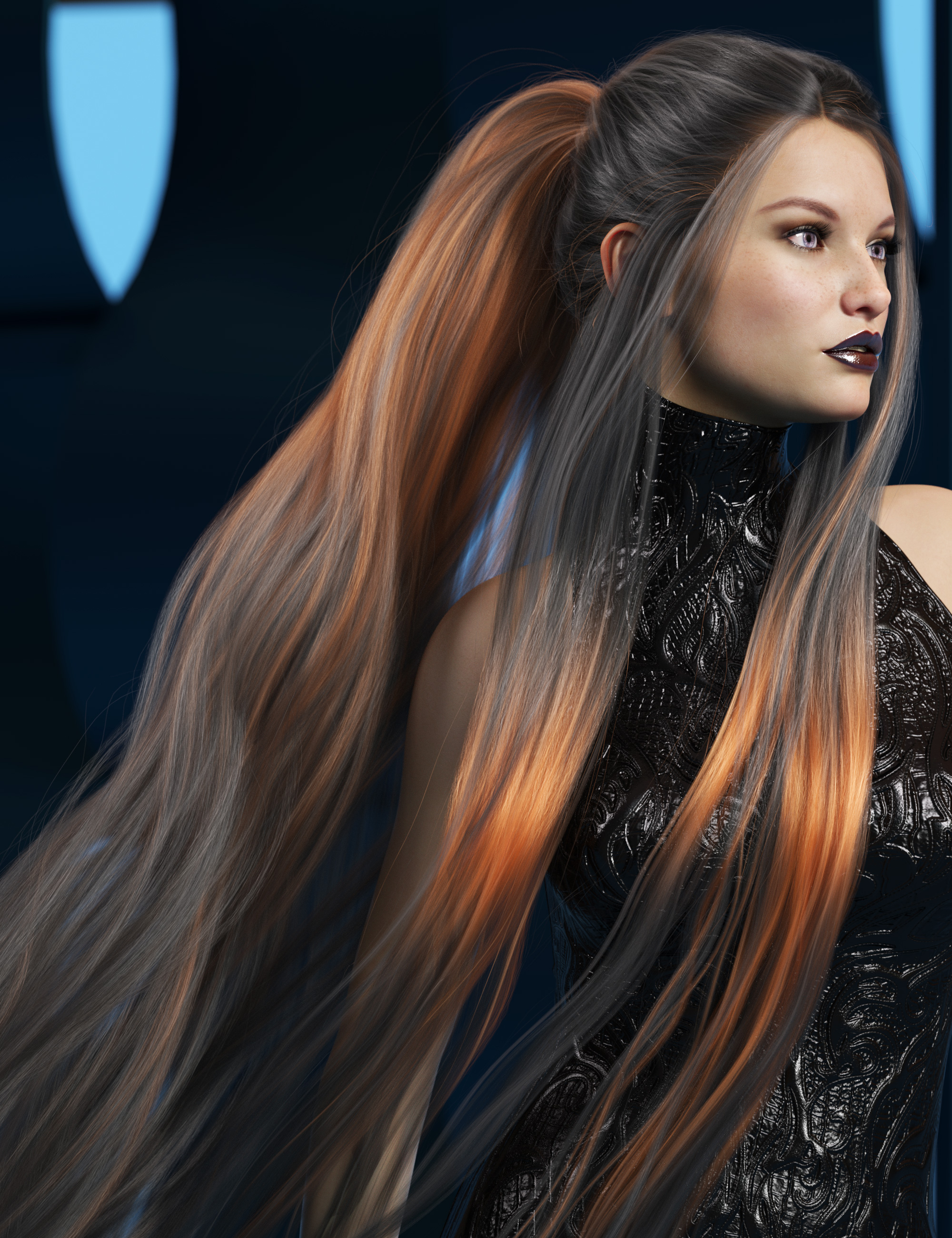 Texture Expansion for Turbulent Tail Hair by: outoftouch, 3D Models by Daz 3D