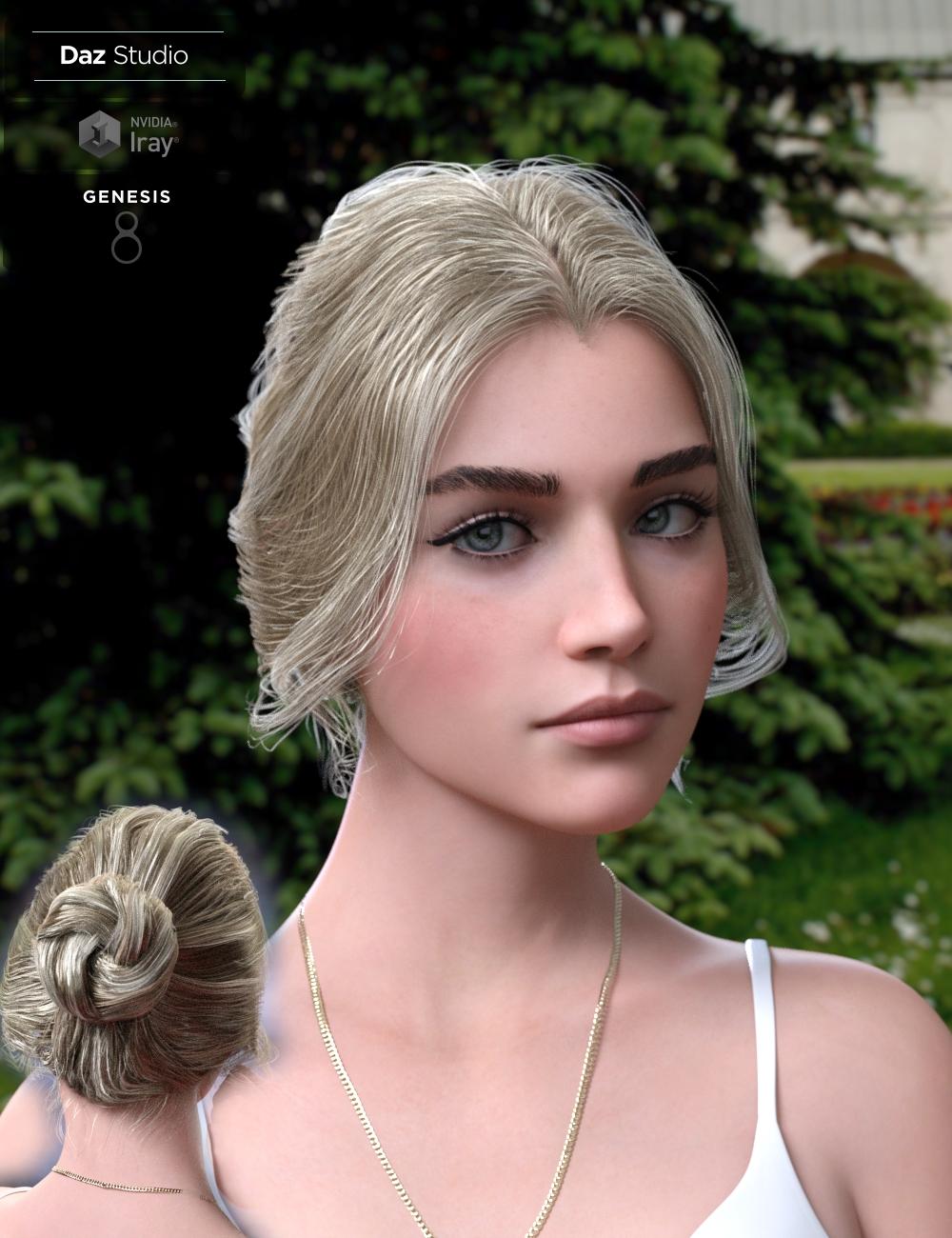 Aurelia Bun Hair for Genesis 8 Female(s) by: Neftis3D, 3D Models by Daz 3D