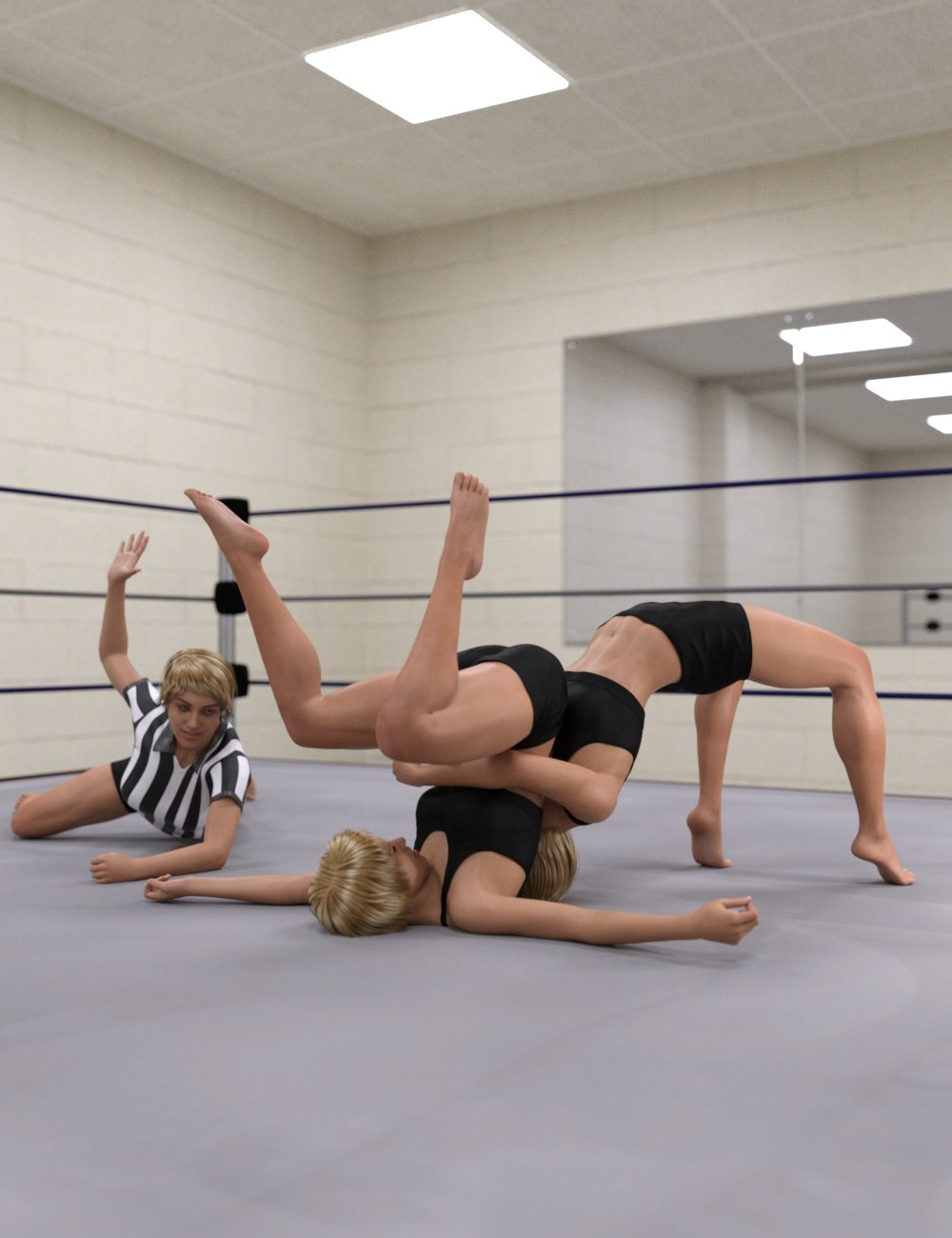 Pro Style Wrestling Poses for Genesis 8 Female by: Scuffles3d, 3D Models by Daz 3D