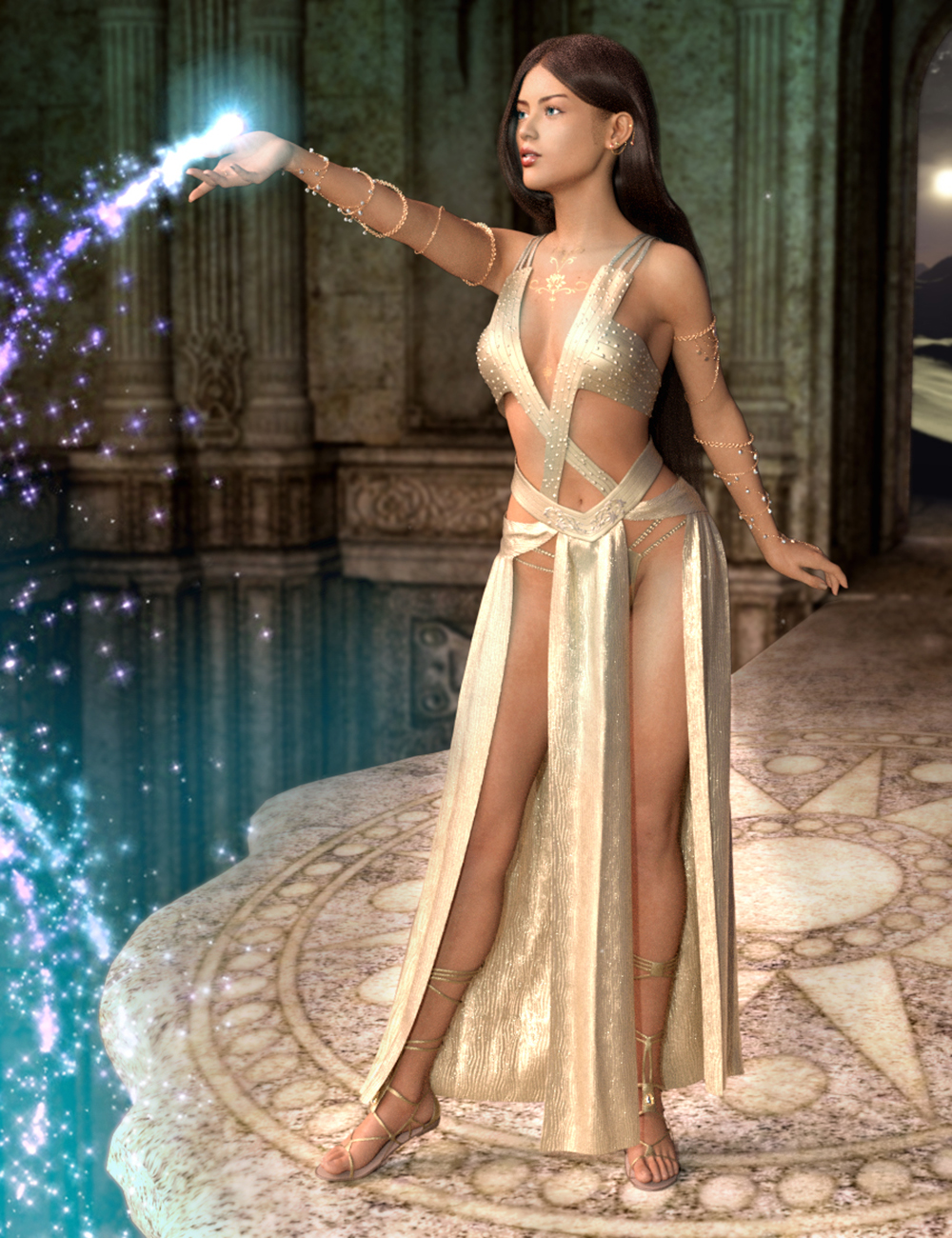 dForce Priestess of Light Outift for Genesis 8 Female(s) by: Blue Rabbit, 3D Models by Daz 3D