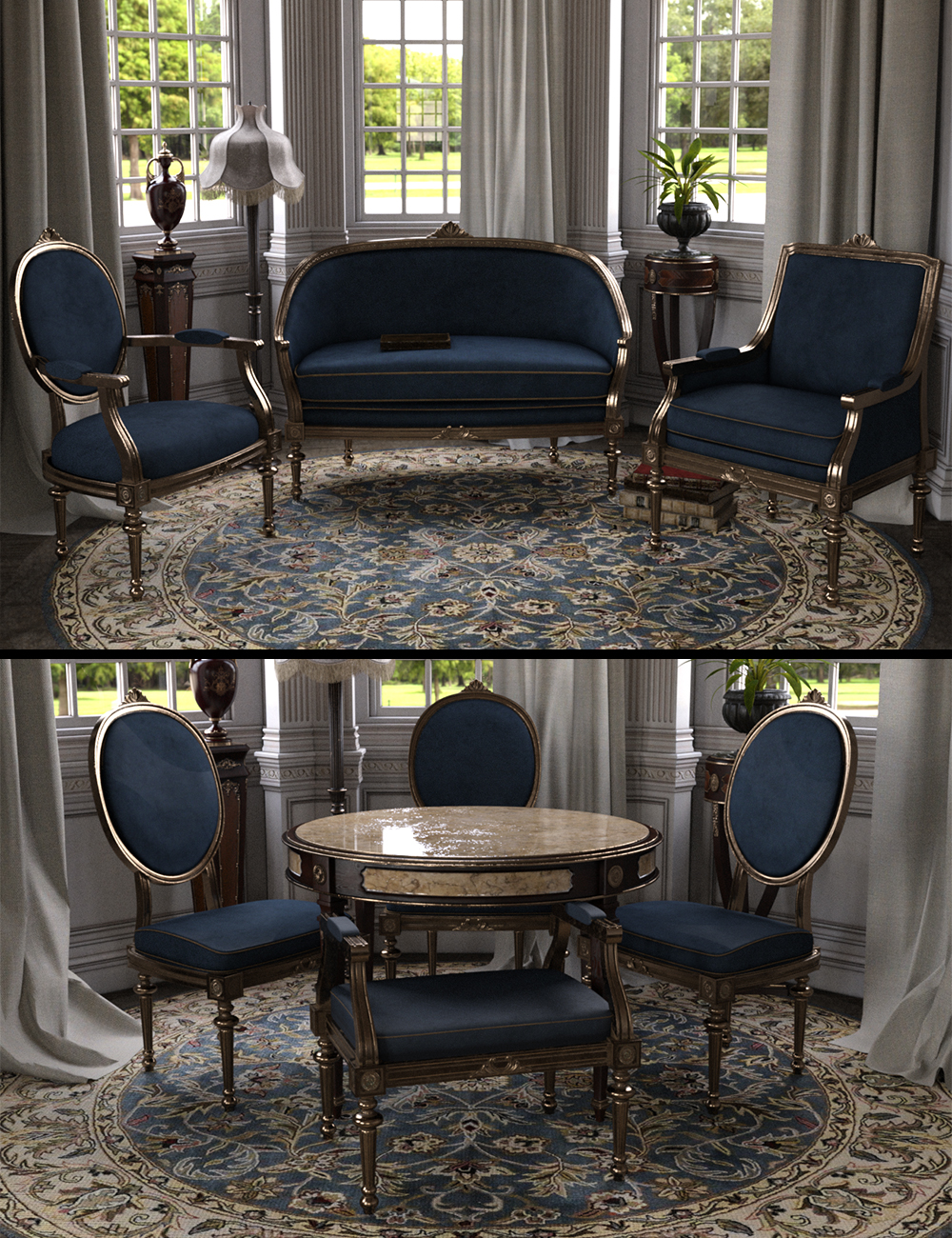 Vintage Furniture Iray by: LaurieS, 3D Models by Daz 3D