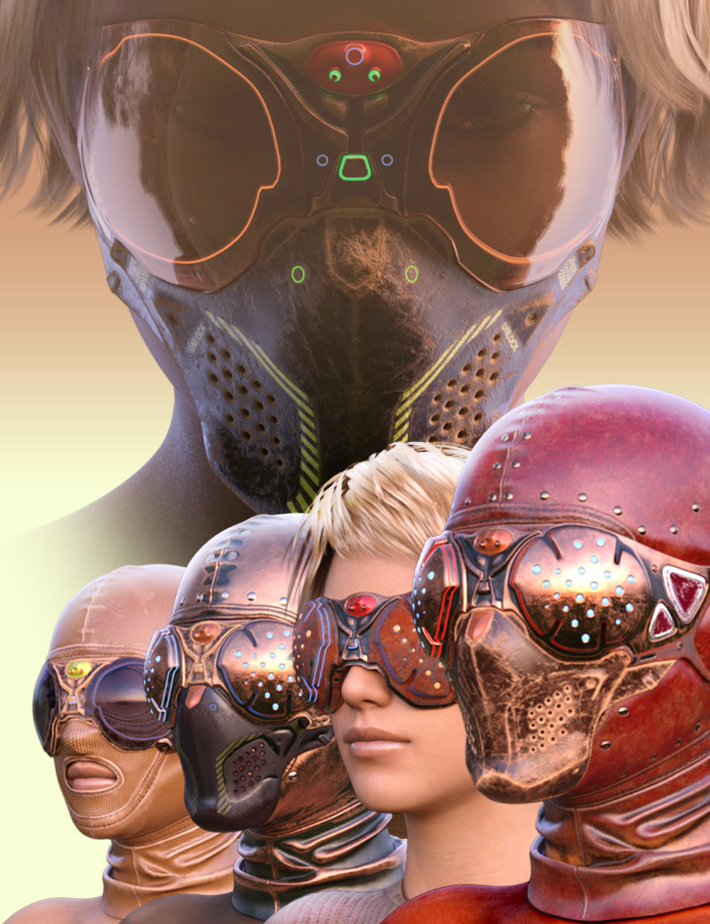 COG SciFi Goggles And Mask Steampunk Texture Pack by: CatOnGlade, 3D Models by Daz 3D