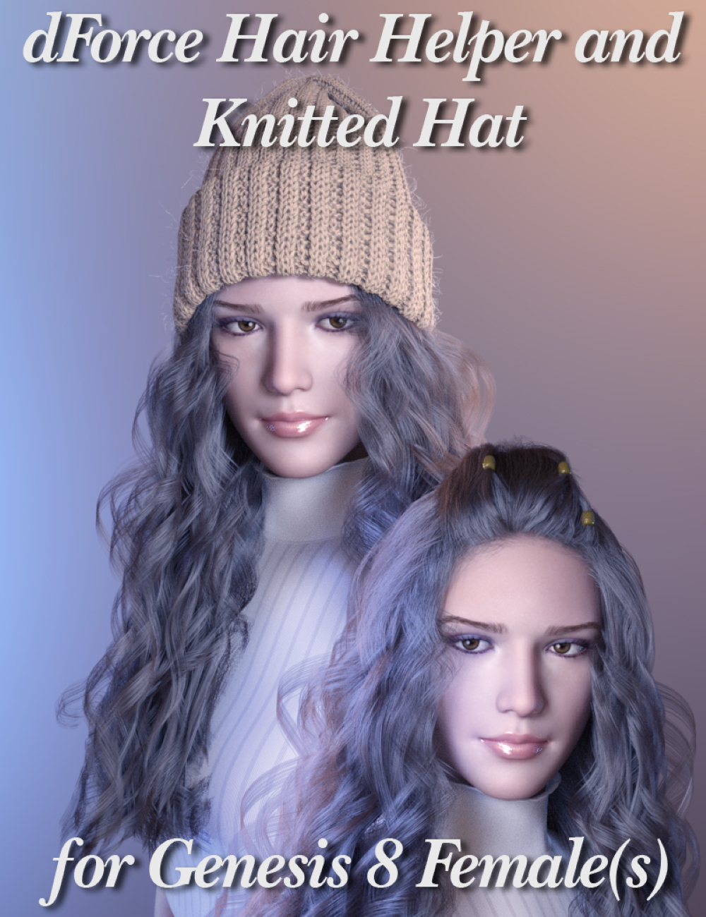 dForce Hair Helper and Knitted Hat by: iWave, 3D Models by Daz 3D