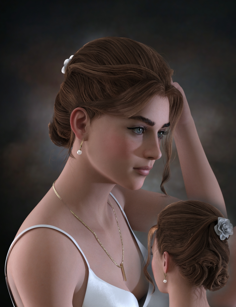 Ellya Classic Updo for Genesis 8 Female(s) by: Neftis3D, 3D Models by Daz 3D