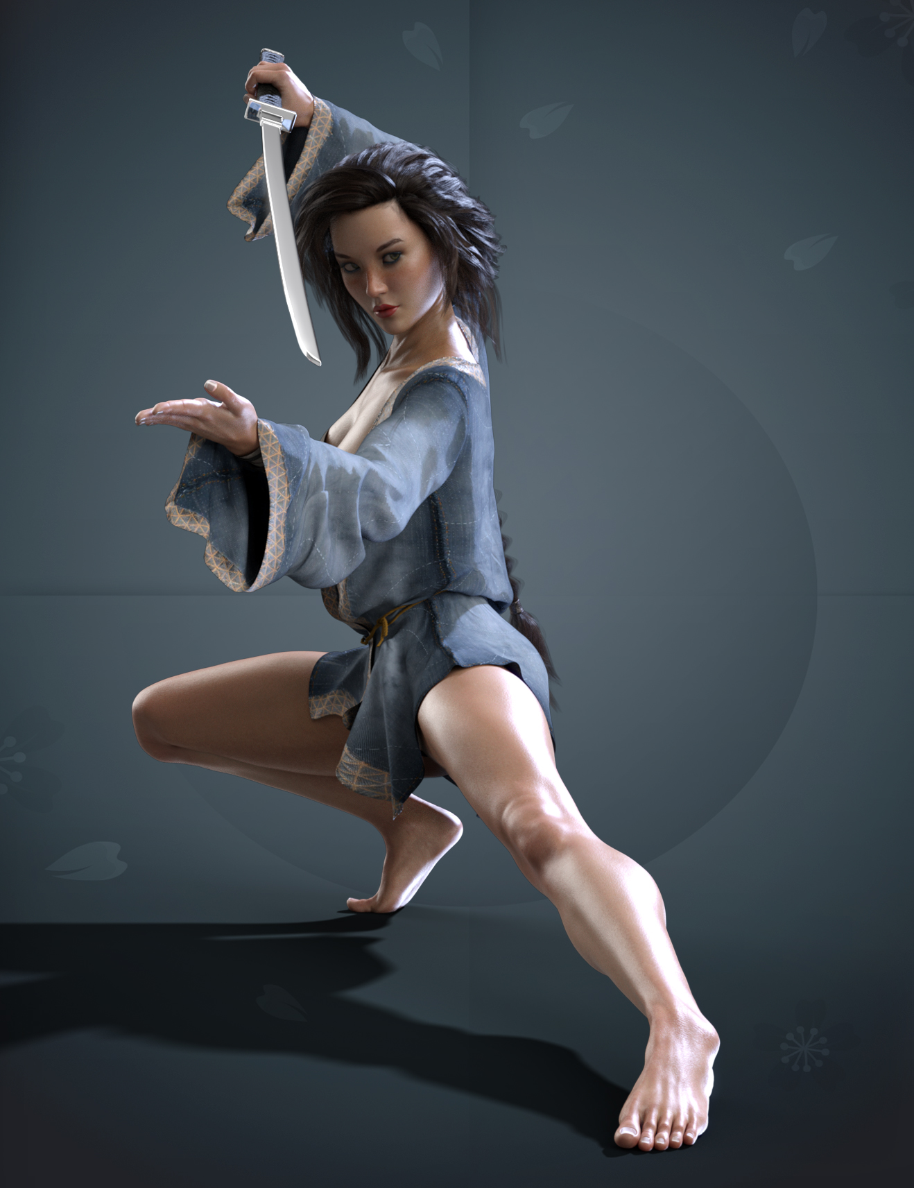 X-Fashion Warrior Kimono for Genesis 8 Female(s) by: xtrart-3d, 3D Models by Daz 3D