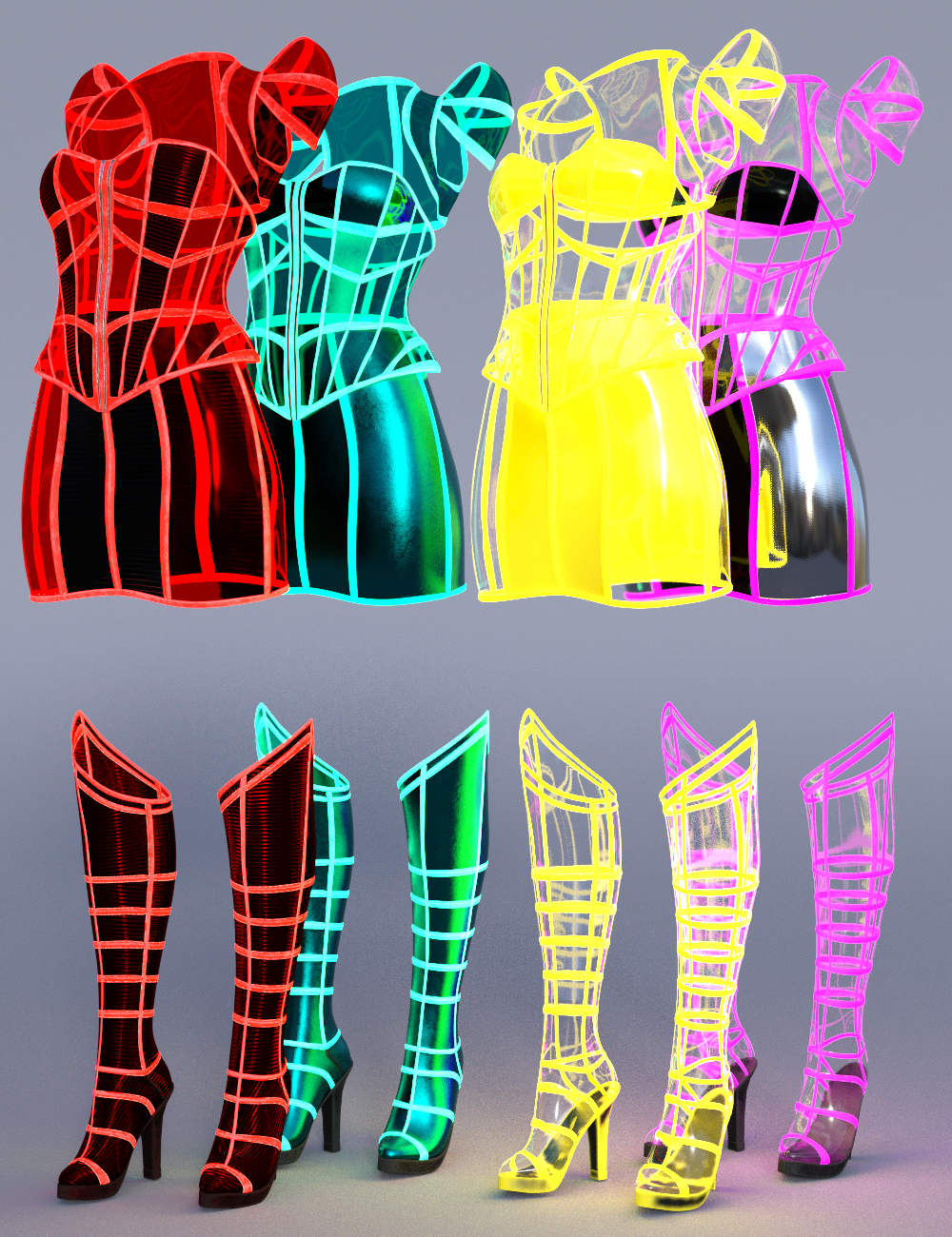 Neon Dream Outfit Textures by: Moonscape GraphicsSade, 3D Models by Daz 3D