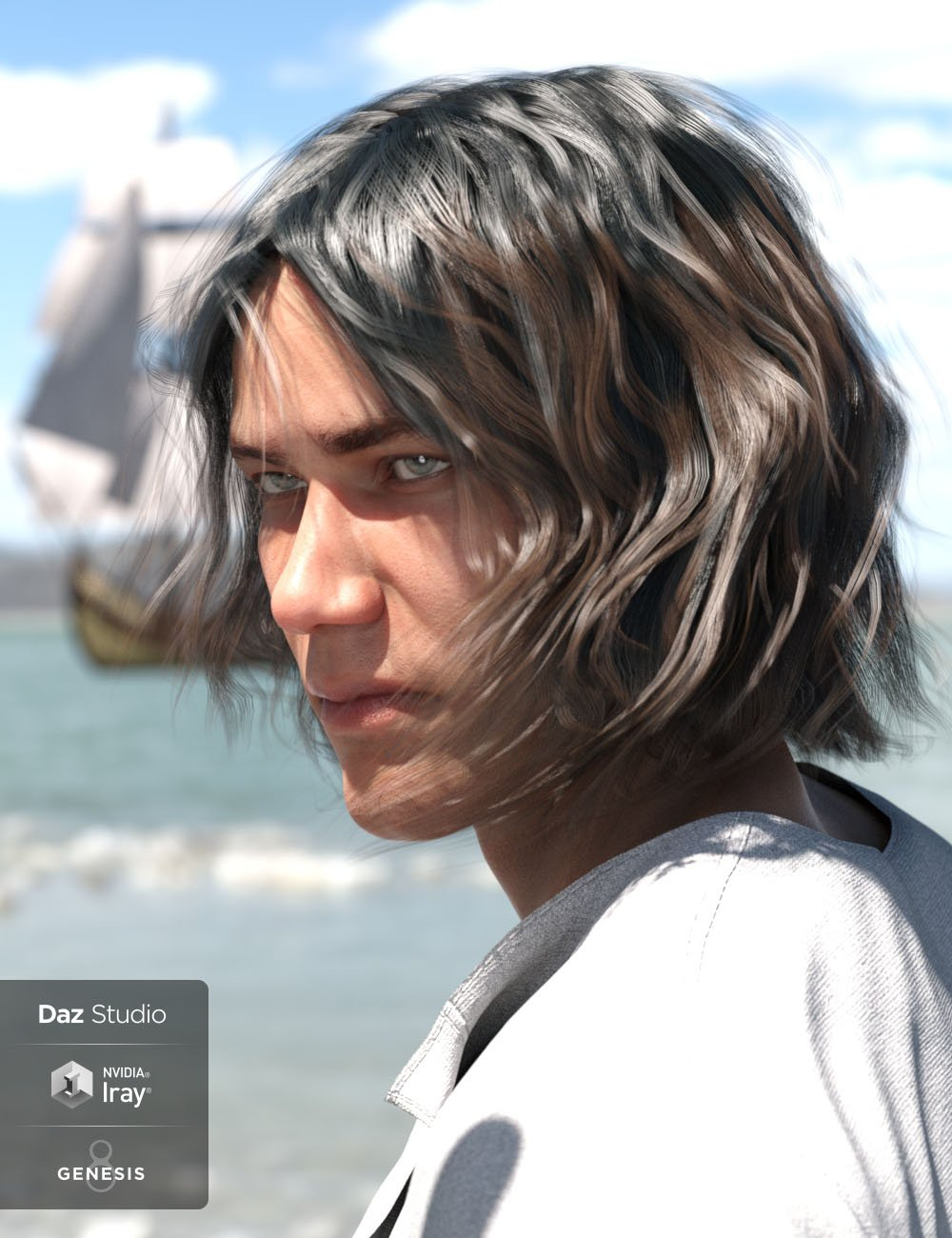 Deck Hand Hair for Genesis 3 and 8 Male(s) by: 3DCelebrity, 3D Models by Daz 3D