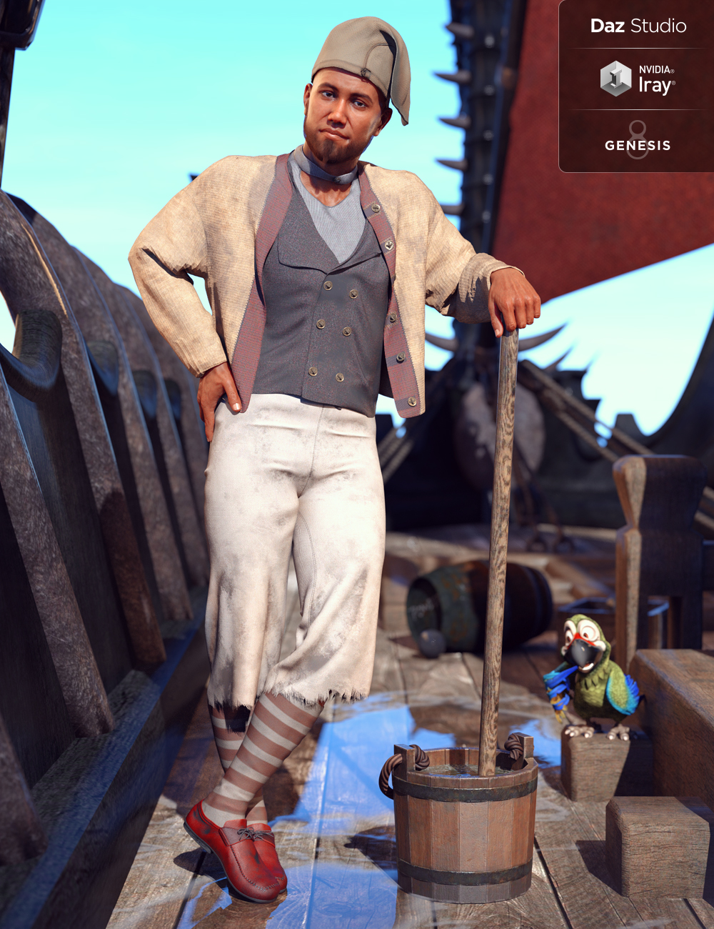 dForce Deck Hand Outfit for Genesis 8 Male(s) by: Barbara BrundonMoonscape GraphicsSade, 3D Models by Daz 3D