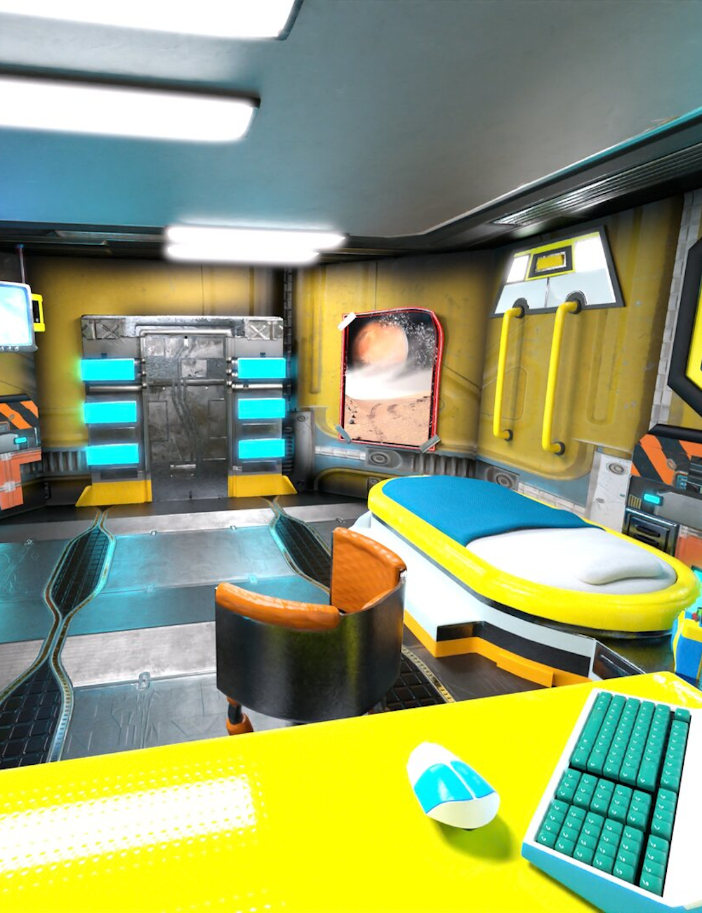 Retrospace Personal Quarters Scene Kit by: Sixus1 Media, 3D Models by Daz 3D