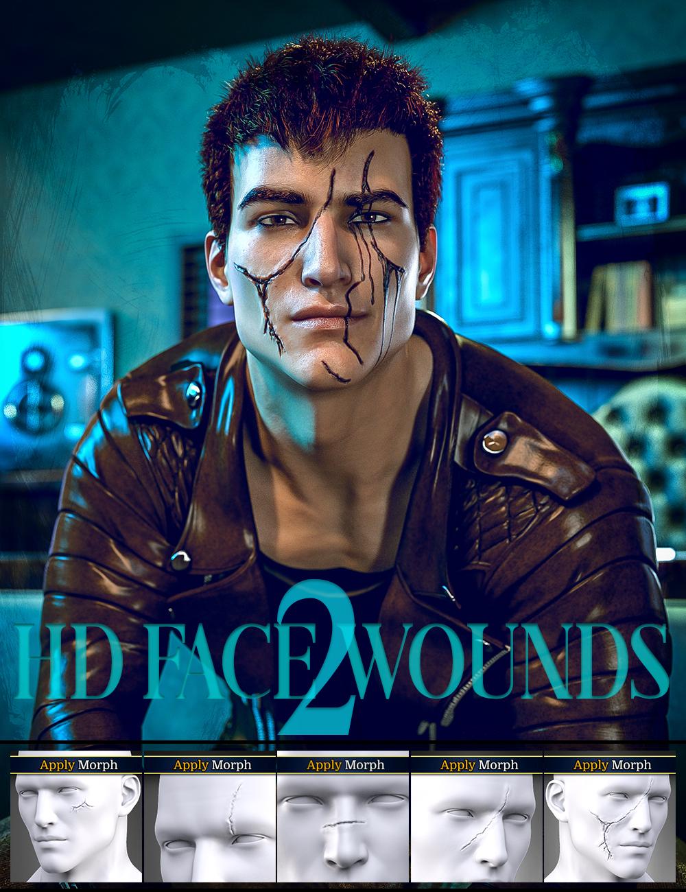 HD Face Wounds 2 for Genesis 3 and 8 Male(s) by: FenixPhoenixEsid, 3D Models by Daz 3D