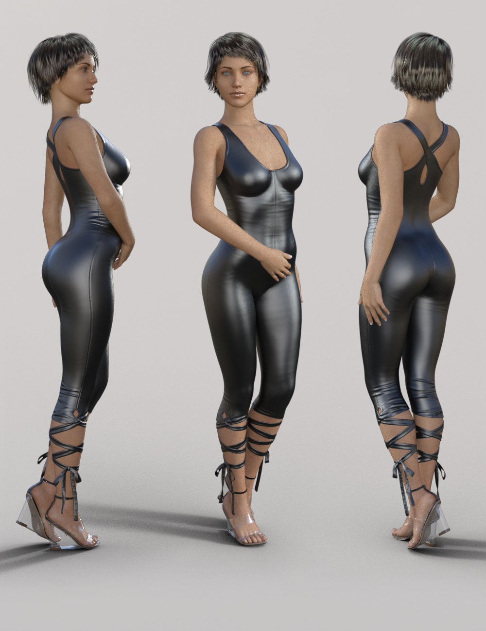 Skinny Jumpsuit and Heeled Sandal for Genesis 8 Female(s) by: fjaa3d, 3D Models by Daz 3D