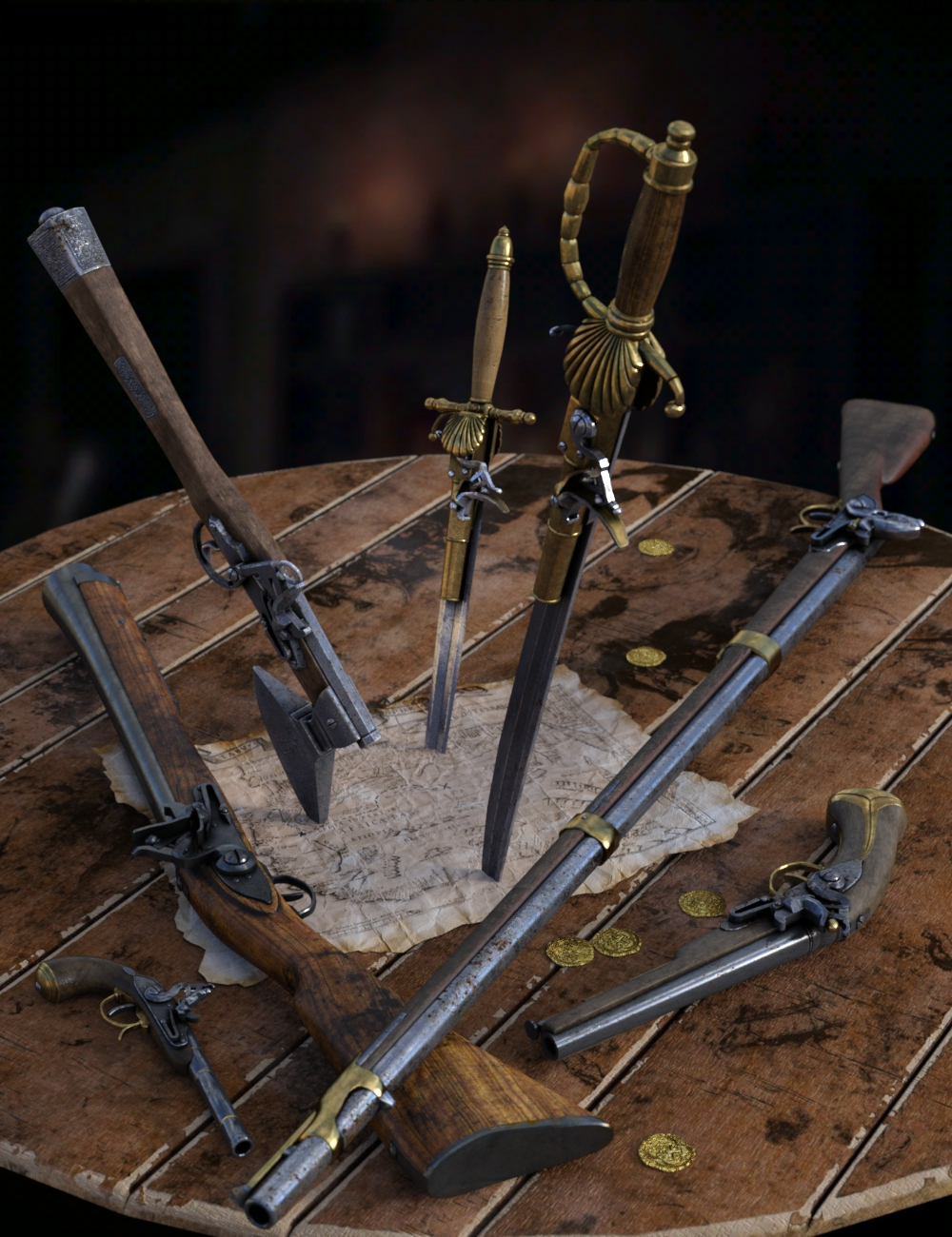 Ye Ole Pirate Weapons by: DzFire, 3D Models by Daz 3D