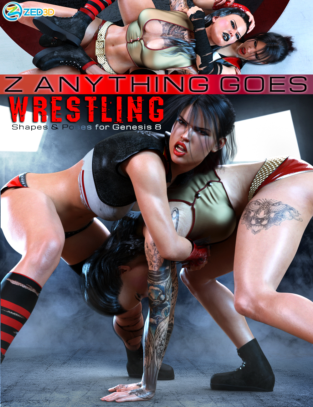 Z Anything Goes Wrestling Shapes and Poses for Genesis 8 by: Zeddicuss, 3D Models by Daz 3D