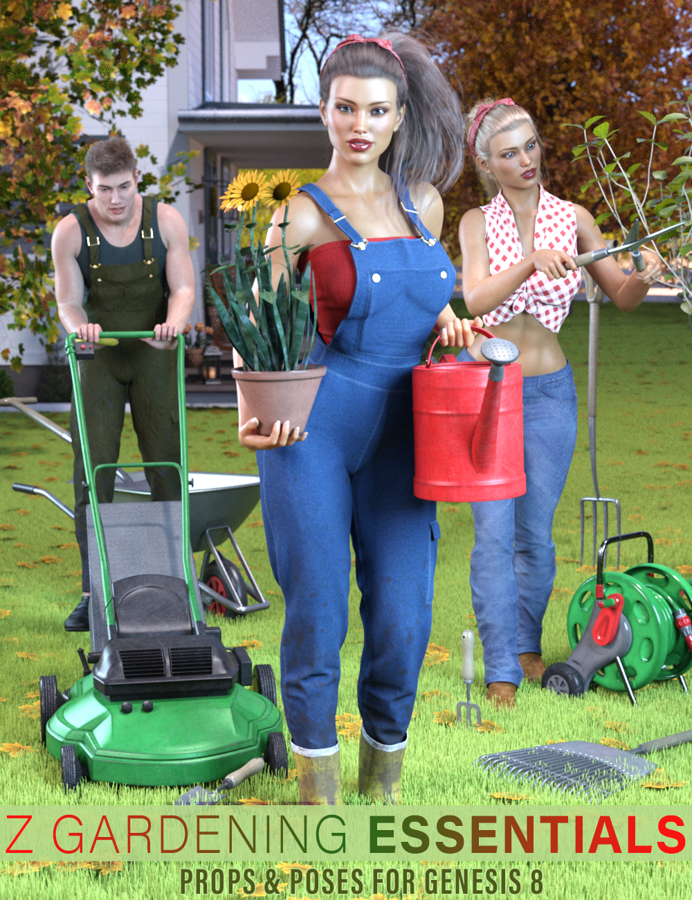 Z Gardening Essentials Props and Poses for Genesis 8 by: Zeddicuss, 3D Models by Daz 3D