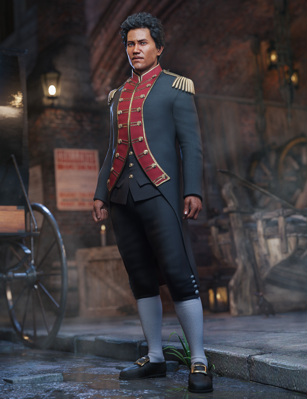 dForce Naval Uniform for Genesis 8 Male(s) by: MadaMoonscape GraphicsSade, 3D Models by Daz 3D